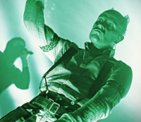 Keith Flint se skupinou The Prodigy na festivale Rock for People 5. července 2018